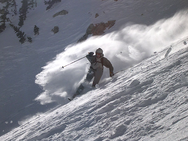 Brigham Graff skiing powder at Brighton, Utah