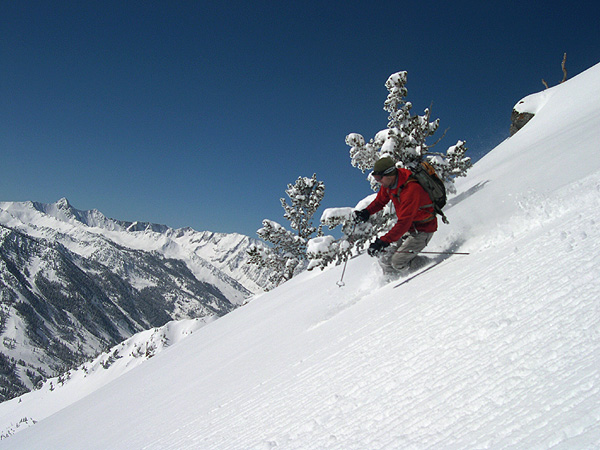 Skiing Untracked Powder in Little Cottonwood Canyon near Alta