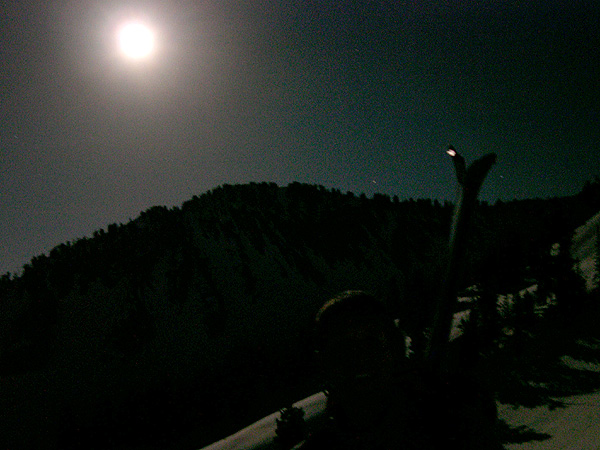 Night hiking on Box Elder Peak via a full moon