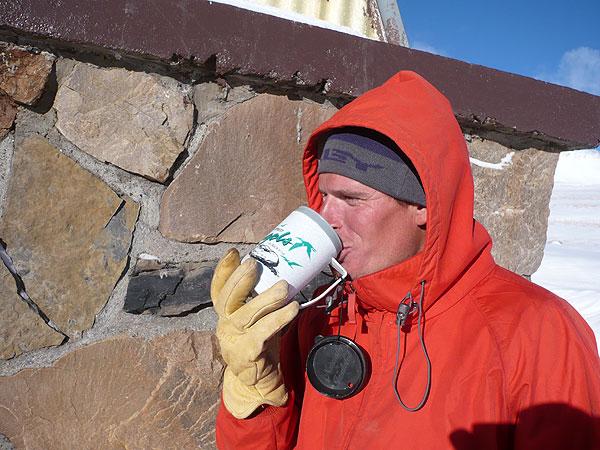 Alex Stoy drinking Clif Shot Hot Apple Cider