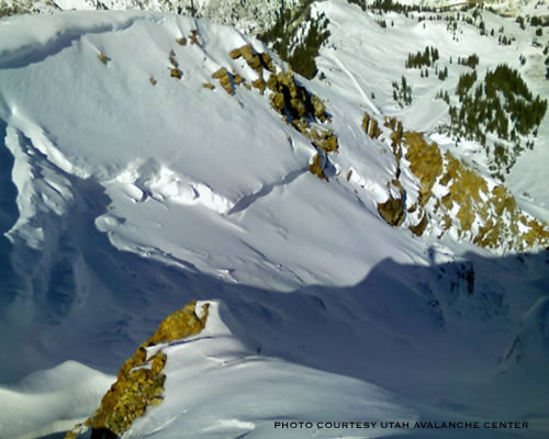 Avalanche on Mt. Baldy in Alta - Pre-season October 2007