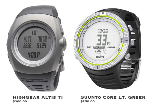 Highgear Altis TI and Suunto Core Light Green - Great Altimeter Watches
