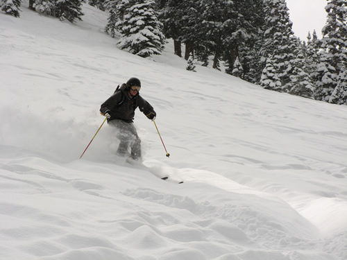 Brigham Graff Getting Knee-deep Freshies in the Evergreen Area at Solitude Resort