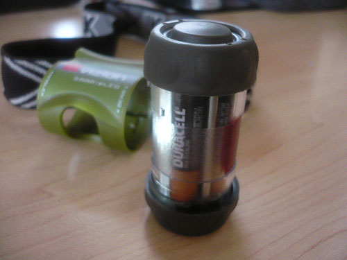 UK Vizion 3AAA eLED Headlamp - close up of the battery housing