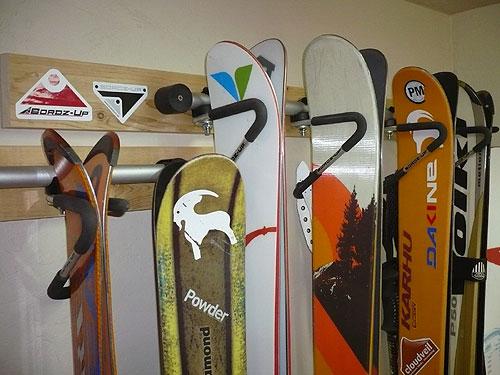 Boardz Up wall mount ski racks - close up