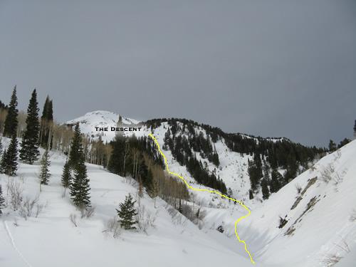 Our Ski Route off Box Elder Peak, Utah