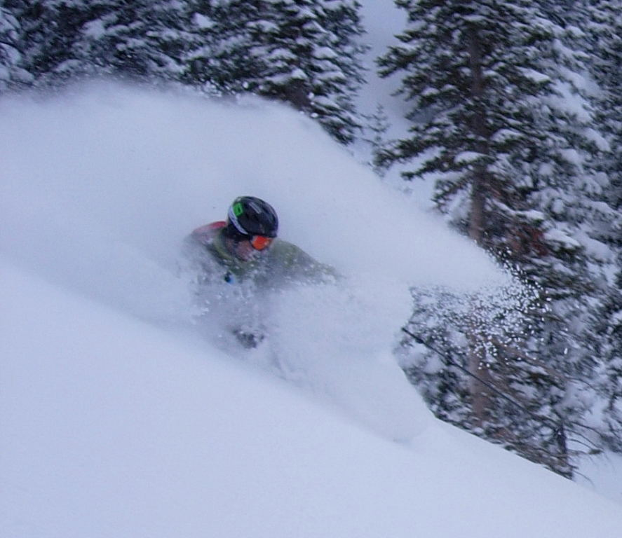 Kendall Card getting the goods in Little Cottonwood Canyon