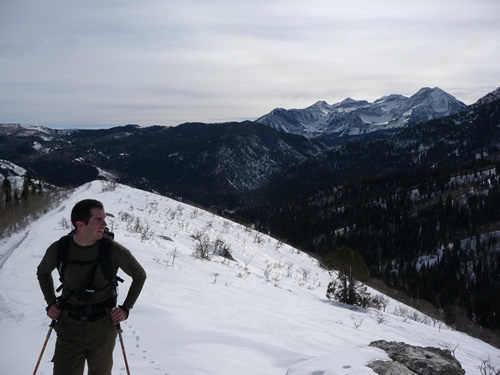 Ben Brutsch Eyeing Box Elder Peak - Mt. Timpanogos in Background - Jan 17, 2009