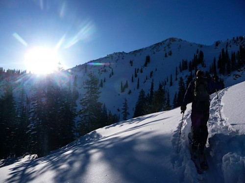 Rich Lambert Skinning up to Catherine's Pass - Utah Backcountry Skiing
