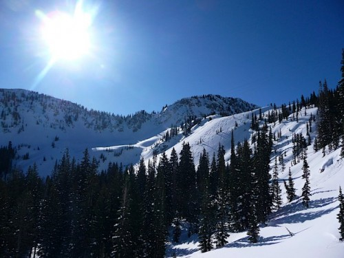 View of Stupid Chute from Twin Lakes - Utah Backcountry Skiing