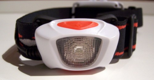 Front view: superbright LED, single multi-function button on top