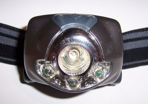 Front view: 3 super bright LEDs below, 1 1-watt bulb centered above
