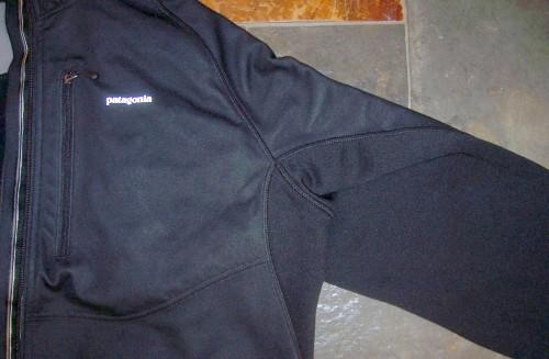 front polyester panel; fleece underarm panel below seam