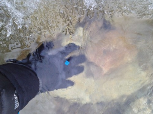 Submerging my glove in the icy waters of Lamoille Creek put Omni-Heat's warmth and waterproofing to the ultimate test.