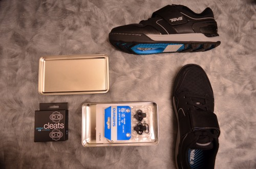 The kit: spanking new cleats and shoes.  Can't wait to destroy that signature bright Teva blue.