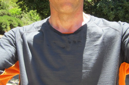 After 10 miles at 80 degrees: just a trace of moisture condensation around the collar.