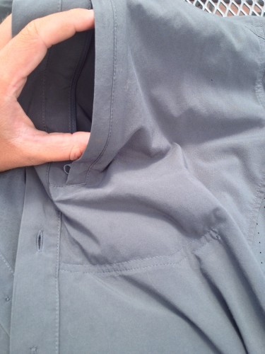The single Napoleon pocket is quite deep - the double row of stitching marks the bottom of the pocket.