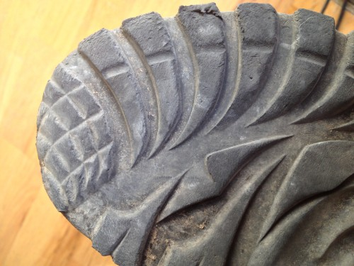 Significant tread wear is the tradeoff that gives the Vibram soles all of that grip.