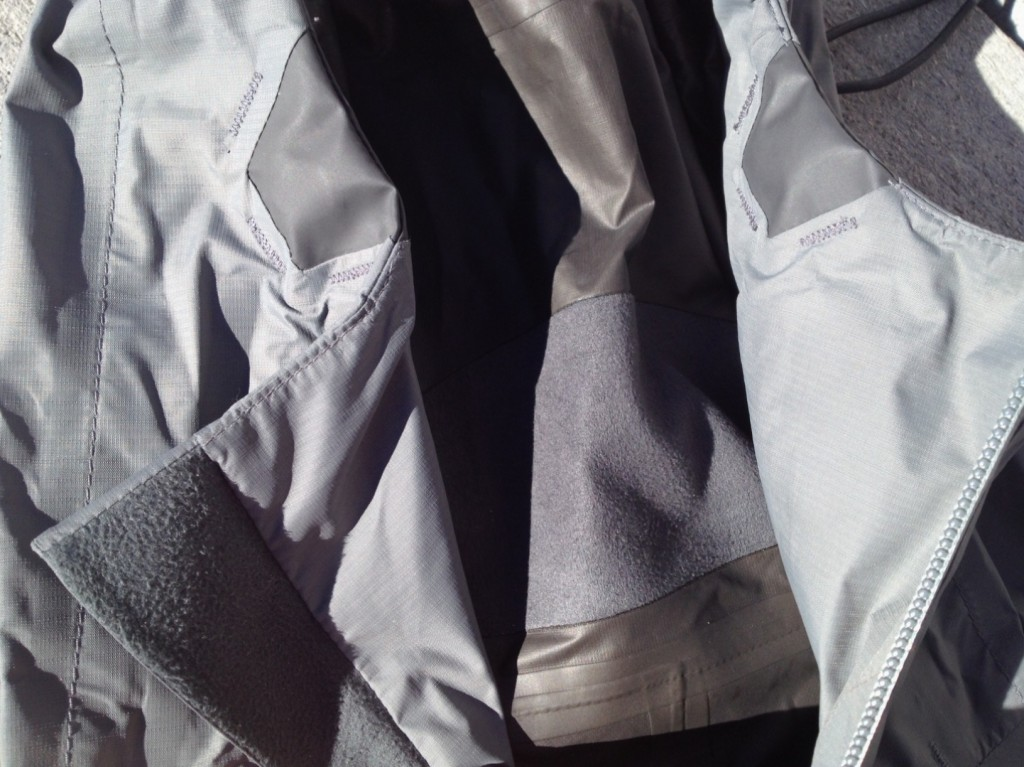 Note the microfleece and the Touch Point tabs in the trapezoidal areas of darker fabric