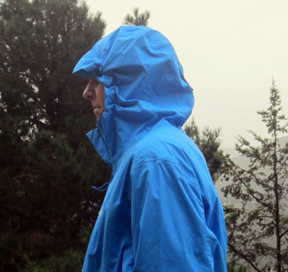 Hood tightens with elastic cord; peripheral vision is maintained.
