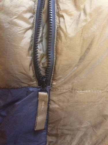 Sierra Designs Baffled Parka Close-up on the Zipper
