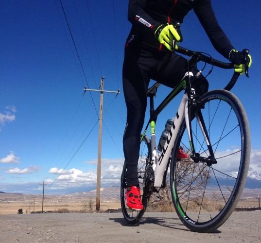 Riding Gravel - Scott Solace, Pearl Izumi Elite Thermal Bib Tights, Garneau Course Air Lite Shoes