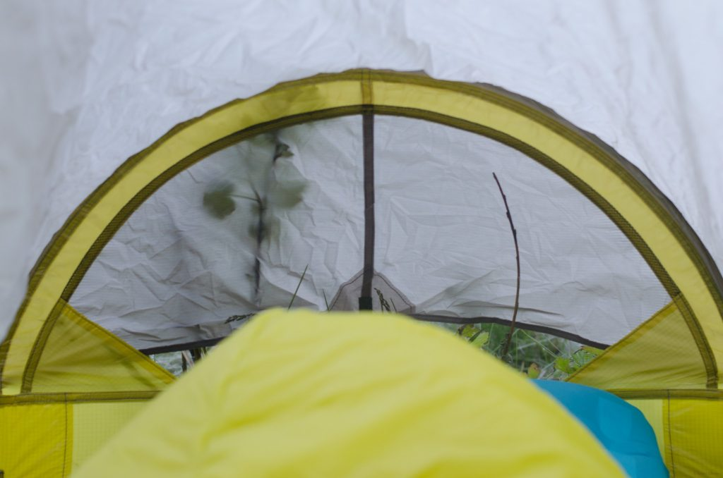 A look towards the foot of the tent
