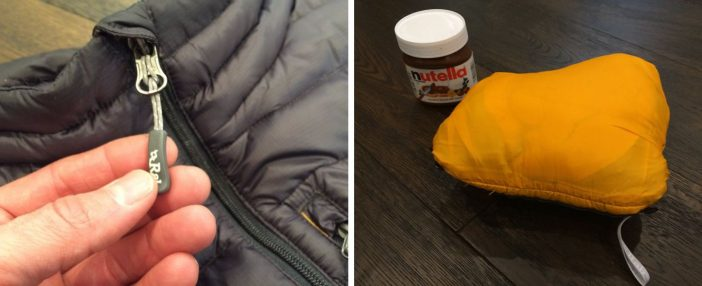 Excellent zipper pulls and it stuffs into the chest pocket (13 oz. Nutella for size reference).