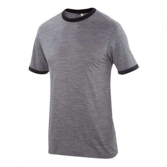 The Ibex Ringer Shirt in Stone Grey Heather.