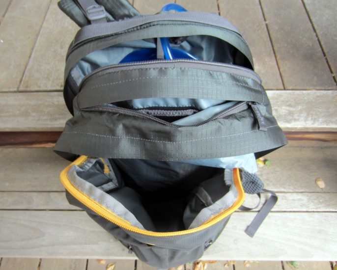 Top to bottom: hydration/laptop compartment, key and valuables pouch, main cargo compartment