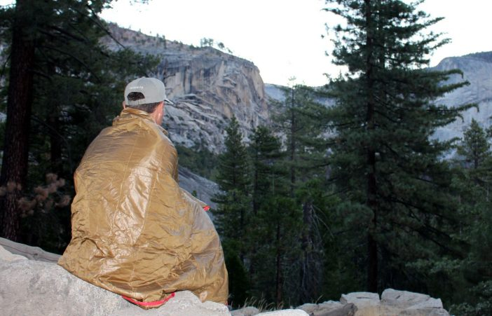 Keeping out the morning chill in Little Yosemite Valley