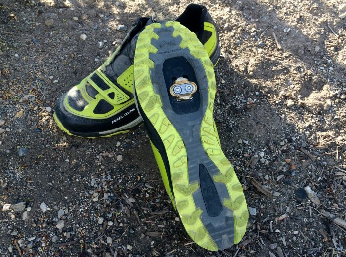 The traction-y outsoles are more like trail runners than MTB shoes.