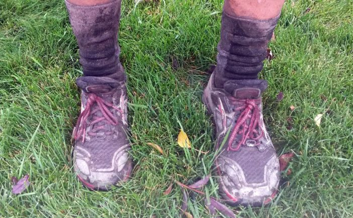 Caked in mud after the Bear 100; also pictured are Drymax Cold Weather socks