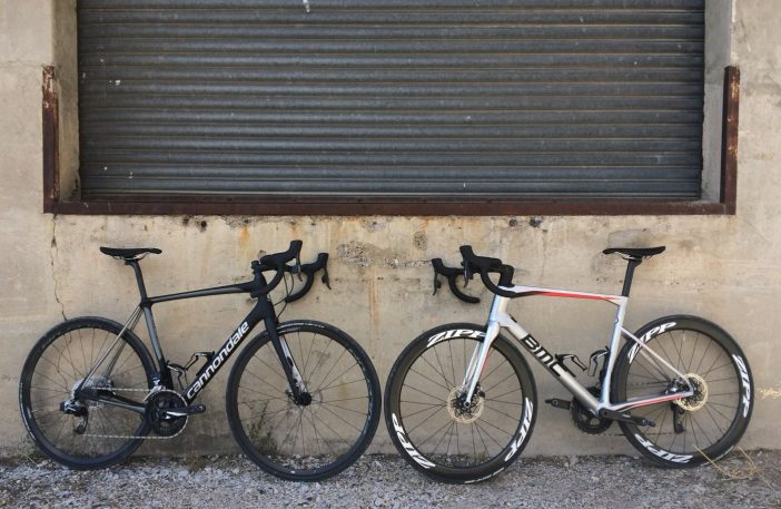 Dueling eTap HRD Testers -- Cannondale Synapse and BMC Roadmachine 01