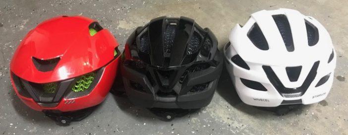 Back view of Starvos, Specter and XXX WaveCel Helmets