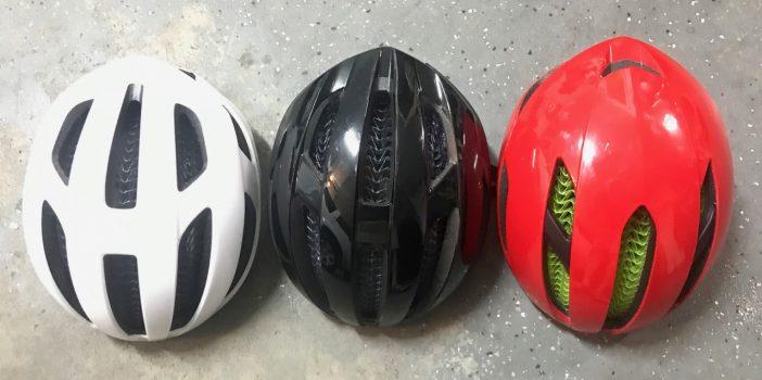 Top view of Starvos, Specter and XXX WaveCel Helmets